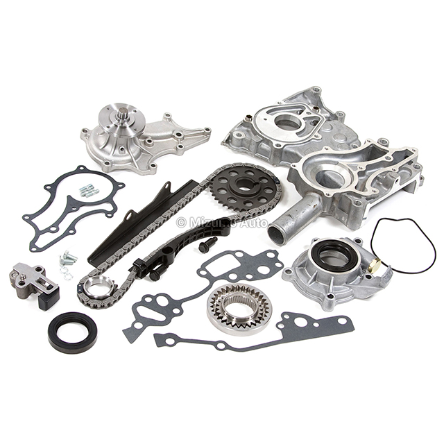 timing chain kit cover w   steel rail oil water pump fit